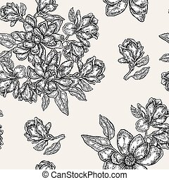 Vintage magnolia flowers, buds and leaves. Vector seamless pattern. Illustration for fabrics, gift packaging, textiles and card designe