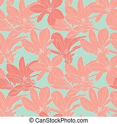 Vintage magnolia flowers seamless pattern.