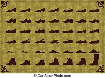 Vintage man and women shoes silhouette collection background...