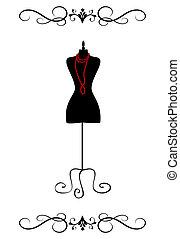 Vintage Mannequin - Vector illustration of a black tailor's...