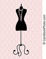 Vector illustration of a black tailor's mannequin. Elements are grouped and layered for easy editing.