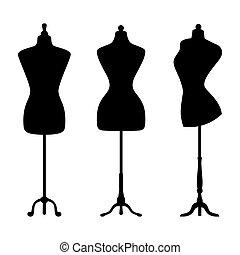 Vintage mannequins. Vector.
