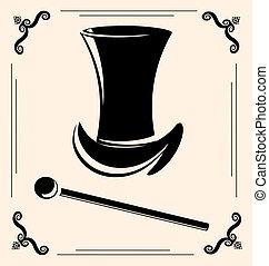 vintage man\'s hat - on vintage background is outlines man's...
