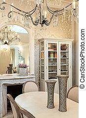 Vintage mansion - dinner table and chandelier - Vintage...