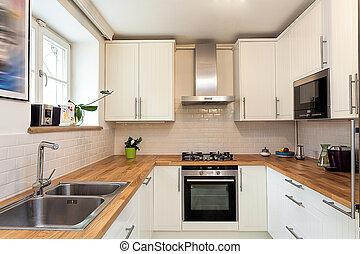 Vintage mansion - kitchen - Vintage mansion - a white modern...