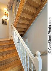 Vintage mansion - stairs - Vintage mansion - brown wooden...