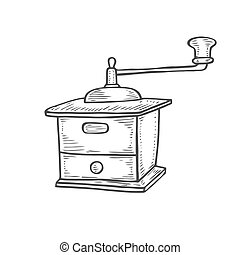 Vintage manual coffee grinder. Hand-drawn vector...