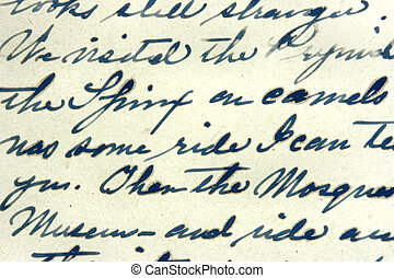 Vintage hand writing on a letter. Old paper with visible structure. Pen ink.