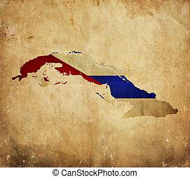 Vintage map of Cuba on grunge paper