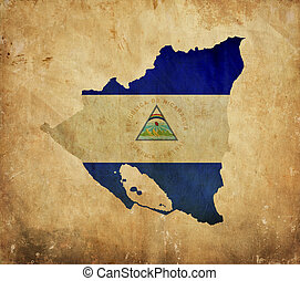 Vintage map of Nicaragua on grunge paper