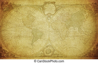 vintage map of the world 1744