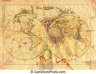 Sepia Toned The World Map In Style Of A Copper Engraving Photo - World map sepia toned