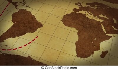 Vintage Map Of The World with animated route - video screen