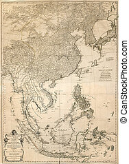 vintage map  - ancient map of east Asia from 1786