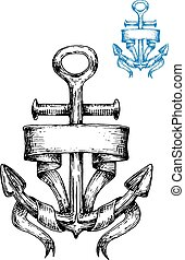 Vintage marine anchor sketch with ribbon