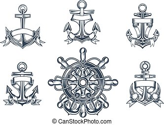 Vintage marine and nautical icons with ships anchors with...