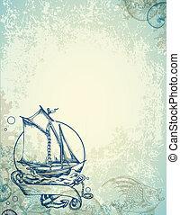 Vintage marine background with ship