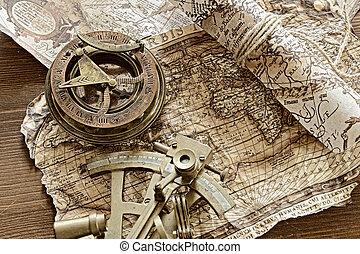 vintage marine still life - vintage still life with compass...