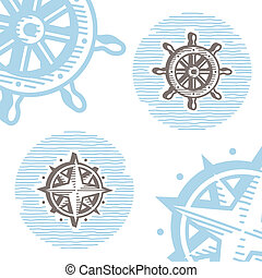 Vintage marine symbols vector icon set: engraving wheel and wind