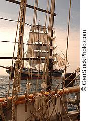 Vintage Maritime Scenic - Vintage windjammer seen through...