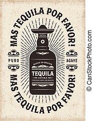 Vintage Mas Tequila Por Favor (More Tequila Please) Typography