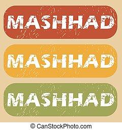 Vintage Mashhad stamp set - Set of rubber stamps with city...