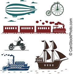 Set of vintage transportation icons: bycicle, zeppelin, train, pirat ship, car, steamboat.