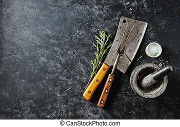 Vintage Meat cleaver and fork