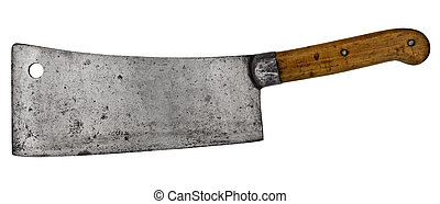 vintage meat cleaver isolated over white background