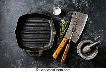 Vintage Meat cleaver with fork