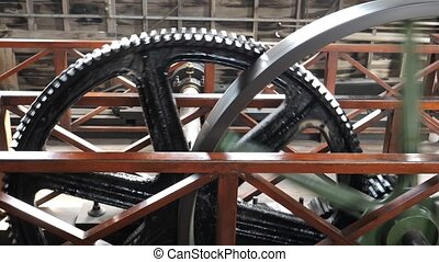 Vintage mechanical equipment - Vintage wheels turning,...