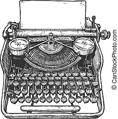 Vintage mechanical typewriter - Vector hand drawn ...