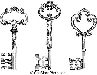 Vintage medieval skeleton keys sketches