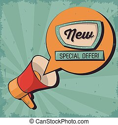 vintage megaphone bubble speech special offer marketing