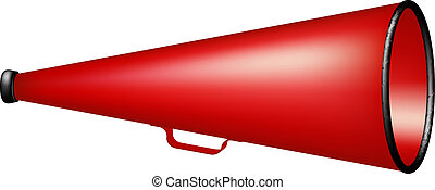 Vintage megaphone in red design on white background