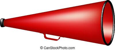 Vintage megaphone in red design on white background