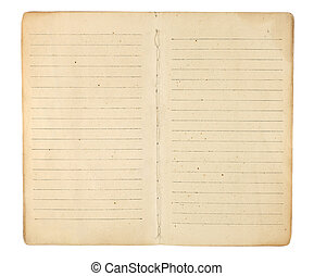 An old memo book or diary opened to reveal yellowing, blank, lined facing pages ready for images and text. Isolated on white. Includes clipping path.
