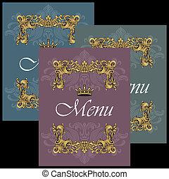 Vintage Menu Cover Design Set