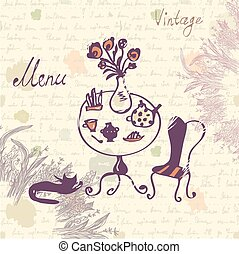 Vintage menu cover design with texture and sketch drawing