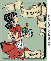 vintage menu for pub or cafe - with pin-up waitress