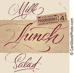 vintage menu headlines set (vector)