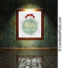 Vintage Menu restaurant poster in frame