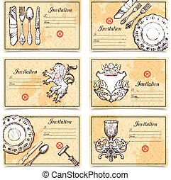 Vintage Menu Set With Cutlery Images