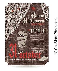 Vintage menu to Halloween party. Vector illustration.