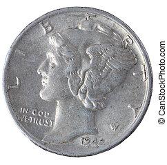 Vintage mercury dime isolated on white