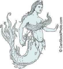 Vintage Mermaid Holding Flower Drawing - Drawing sketch...
