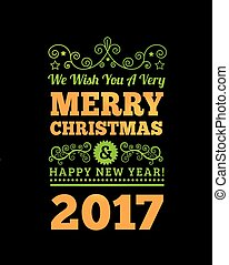 Vintage Merry Christmas and Happy New Year Background