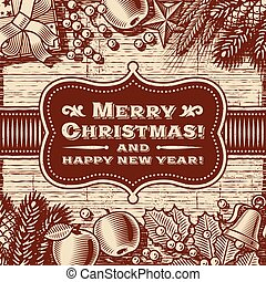 Vintage Merry Christmas Card Brown