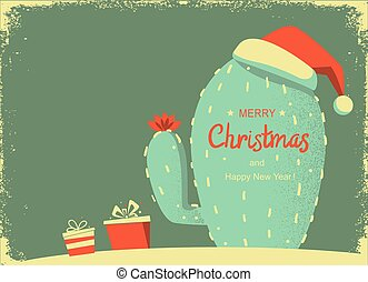 Vintage Merry Christmas card with cactus and holiday text. ...