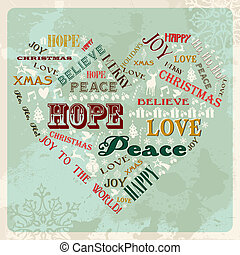 Vintage Merry Christmas concept words in heart shape. Vector illustration layered for easy manipulation and custom coloring.